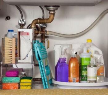 Under the sink, organizing under the sink, how to organize under the sink, popular pin, organization, kitchen organization, clutter free cabinets, DIY organization.
