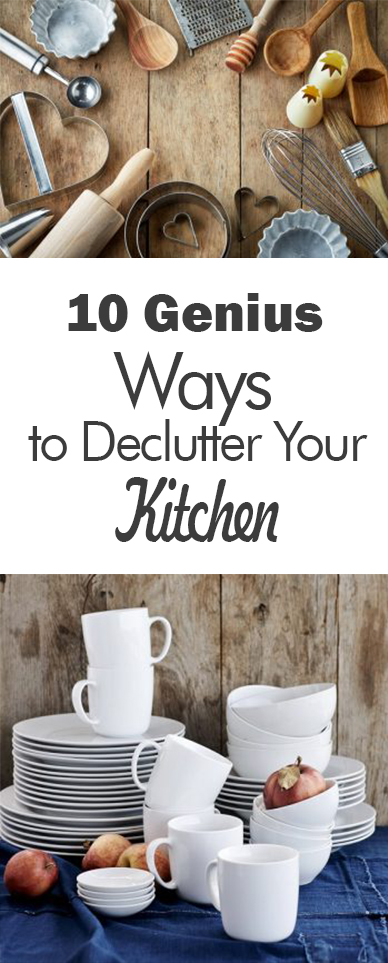10 Genius WaysClean kitchen, kitchen, clutter free kitchen, DIY kitchen organization, popular pin, declutter. to Declutter Your Kitchen