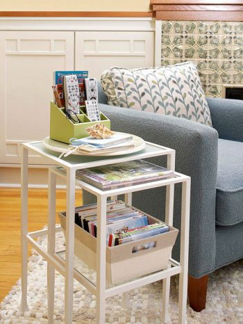 10 ways to use your living room furniture as storage for Organizing living room furniture