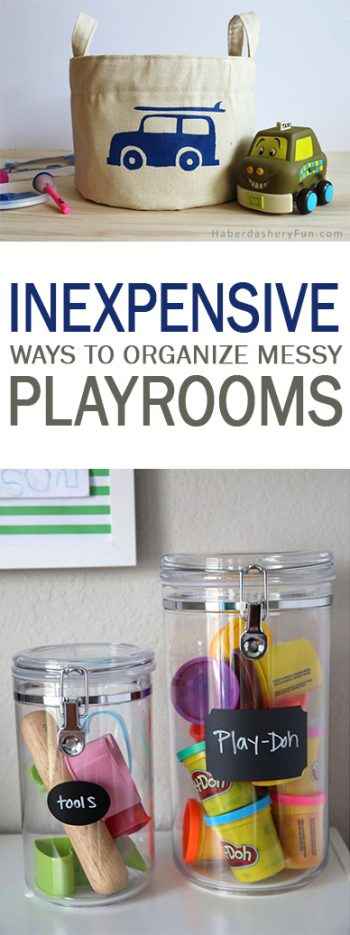 Inexpensive Ways to Organize Messy Playrooms - 101 Days of Organization| How to Organize Playrooms, Organizing Playrooms, How to Organize Kids Toys, Organizing Kids Stuff, Cleaning Kids Toys, Home Organization, Cheap Ways to Organize Your Home, Frugal Ways to Declutter Your Life, Popular Pin