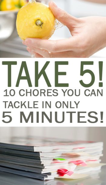 Take 5! 10 Chores You Can Tackle in Only 5 Minutes! - 101 Days of Organization Quick Chores, Fast Chores, Chores You Can Do Fast, Clean Your Home Fast, Quick Ways to Clean Your Home, Fast Ways to Clean Your Home, Cleaning, Cleaning Tips, Cleaning Tricks, Popular Cleaning Pin