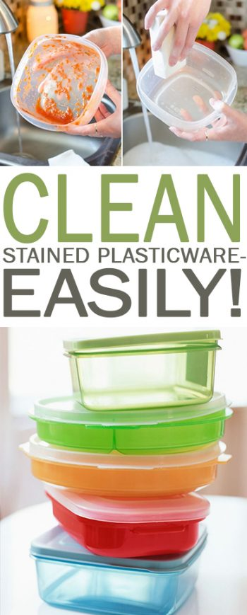 Clean Stained Plasticware-Easily! - 101 Days of Organization| Cleaning, Cleaning Hacks, Plasticware Cleaning Hacks, How to Clean Your Plasticware, Popular Pin #CleaningHacks #CleanHome