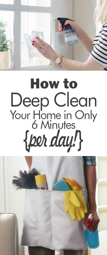 How to Deep Clean Your Home in Only 6 Minutes {per day!} - 101 Days of Organization  Clean Your Home, Fast Cleaning, Fast Cleaning Hacks, Cleaning Tips, Cleaning Hacks, Cleaning 101, Home Cleaning, Home Cleaning Hacks, DIY Home Cleaning Hacks
