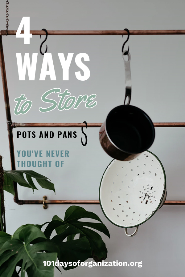 If you want to know how to store pots and pans in ways you have never thought of, you need to read this article. It's loaded with tips and tricks for sorting them in a cabinet, or small kitchen. Let 101 Days Of Organization show you how to get organized in ways you have never thought of before. Take a look!
