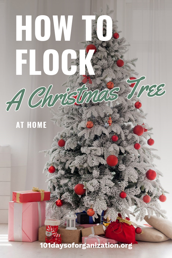 If you love flocked Christmas trees but not the price, you are in luck. That's because we are going to discuss how you can flock your own Christmas tree. It's really an easy DIY project and we will teach you step by step instructions and also give you spray ideas. No more boring green Christmas tree. If you are dreaming of a white Christmas, make it happen by flocking your own Christmas tree. Here's how. #howtoflockachristmastree #whitechristmas