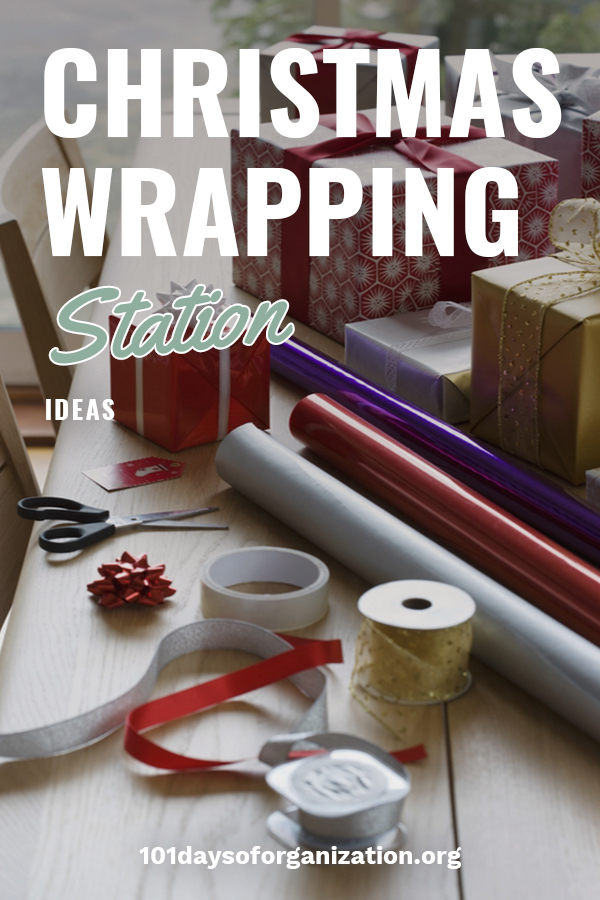 If you want to make gorgeous gifts, a Christmas gift wrapping station is your best bet. One place for all your paper, ribbons, and bows. 101 Days Of Organization wants to show you how easy it is to create this at your home. Keep on reading to see how you can make your own Christmas wrapping station. Everyone will swear you had your gifts wrapped by a professional. And the nice thing is your house isn't littered with paper and bows. #christmaswrappingstation #wrappingstationideas