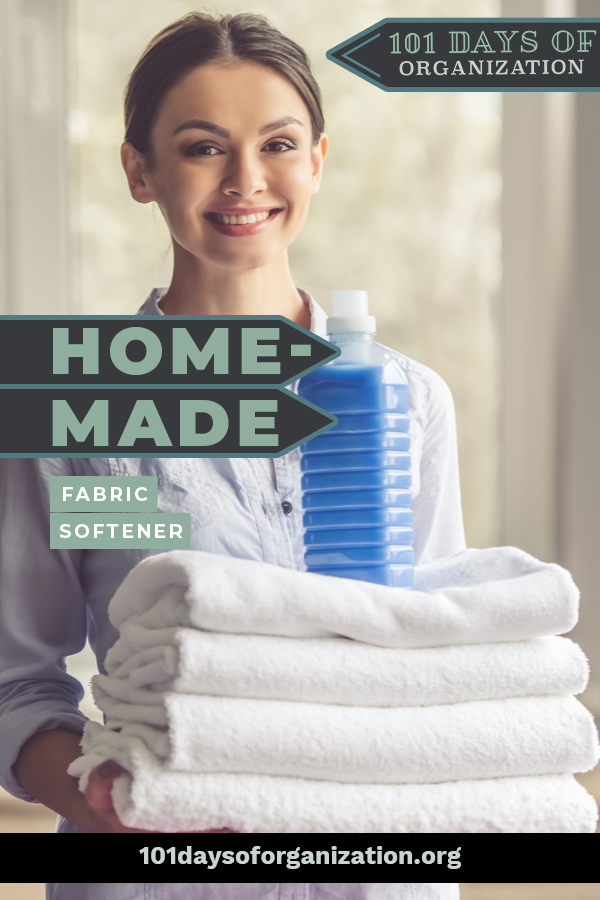 Homemade fabric softener is easy to make right at home! Save money and time with one of these easy recipes. You'll be surprised at how just how easy it is! #101daysoforganizationblog #homemadefabricsoftener DIYfabricsoftener
