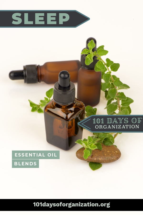 DIY Deep sleep essential oil blends to help you get a better night's sleep. Use a roller ball or a diffuser to dispense your blend, whichever is most effective for you. #101daysoforganizationblog #deepsleepessentialoilblends #DIYessentialoilblends