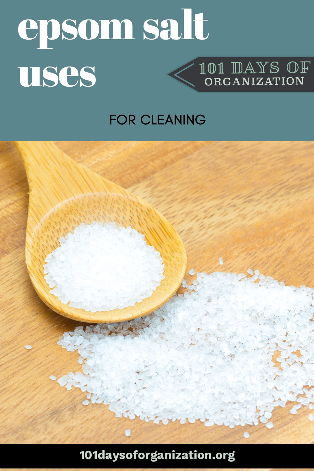 4 Surprising Epsom salt uses for cleaning stuff around the house--even stuff you thought might never come clean again! Learn how to put the power of Epsom salt to work for you. #101daysoforganizationblog #epsomsaltuses #cleaningwithepsomsalt