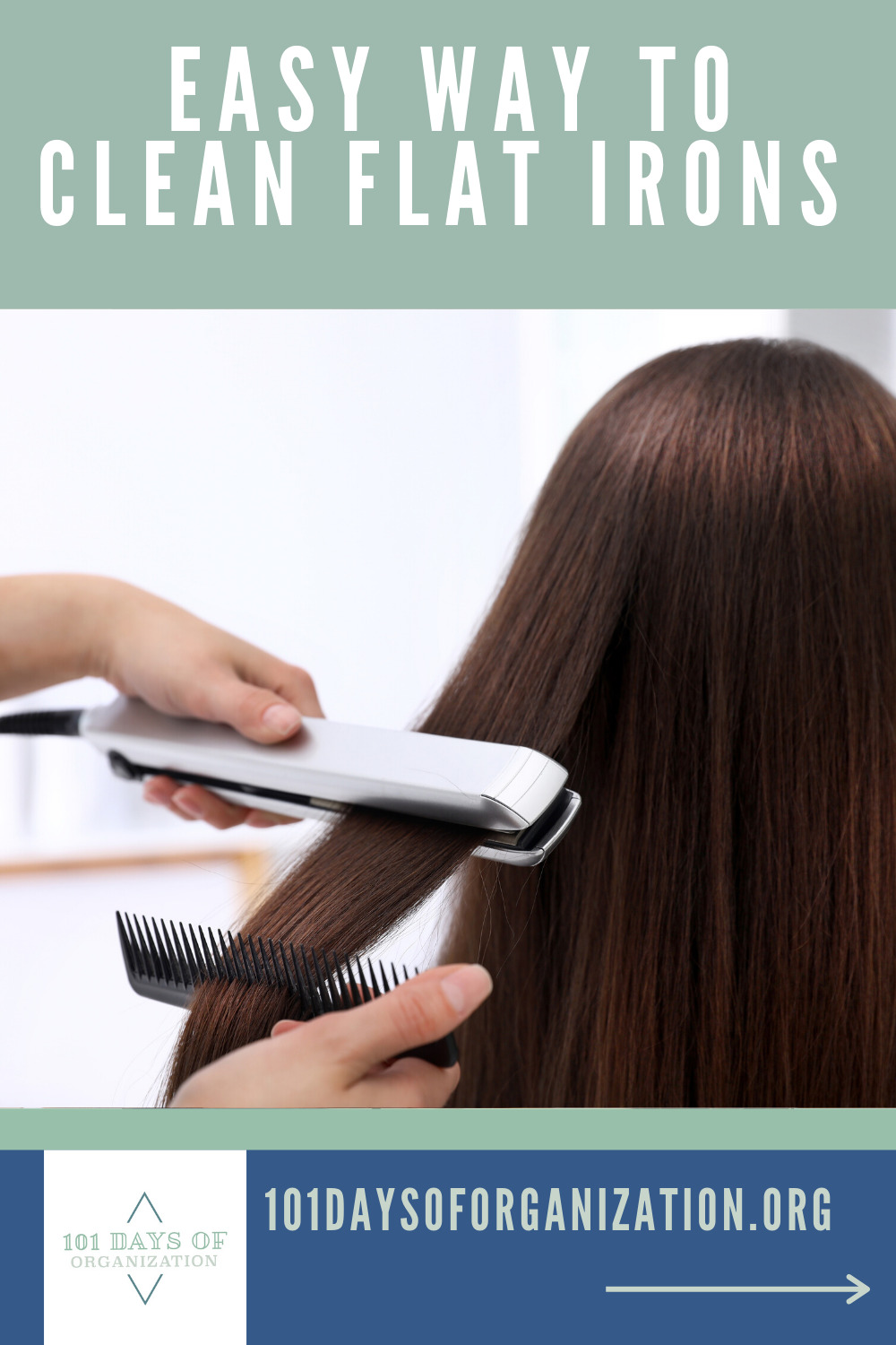 I like cleaning tips that are easy and make sense of my time. That's what this post is about. The easy way to clean flat irons. Since my hair is long and really curly, I use my flat iron often. But, after a while, it looks gross and dirty. I don't want to put that on my hair. You shouldn't either. Read my post and learn how easy it is to clean flat irons so they look new again. #flatirons #howtocleanflatirons #cleeaningtricks #101daysoforganizationblog