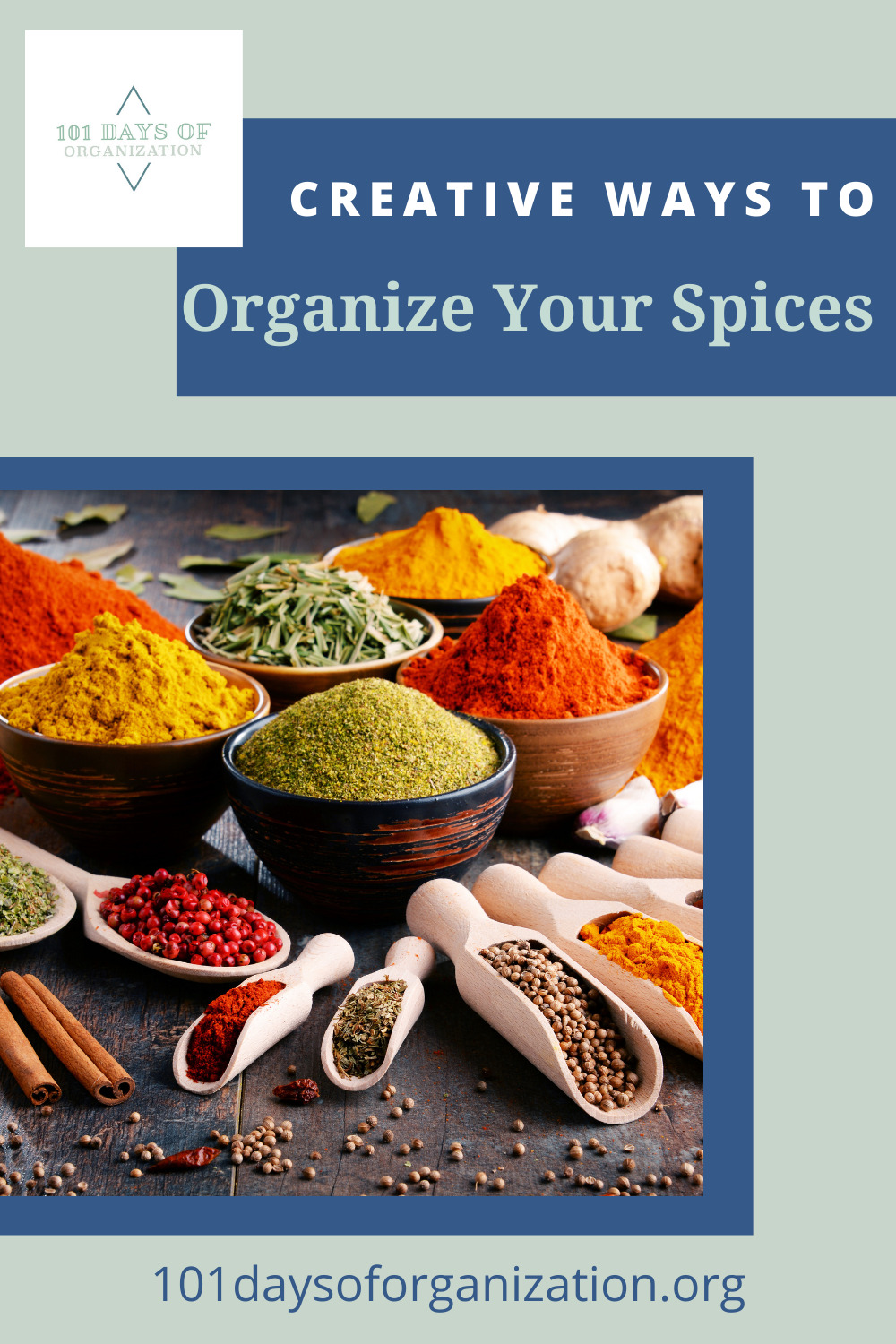 101daysoforganization.org will help you get everything in your life clean, organized, and clutter-free! Find creative solutions to even the trickiest messes. Check out these genius ways you can store your spices to keep your kitchen tidy!