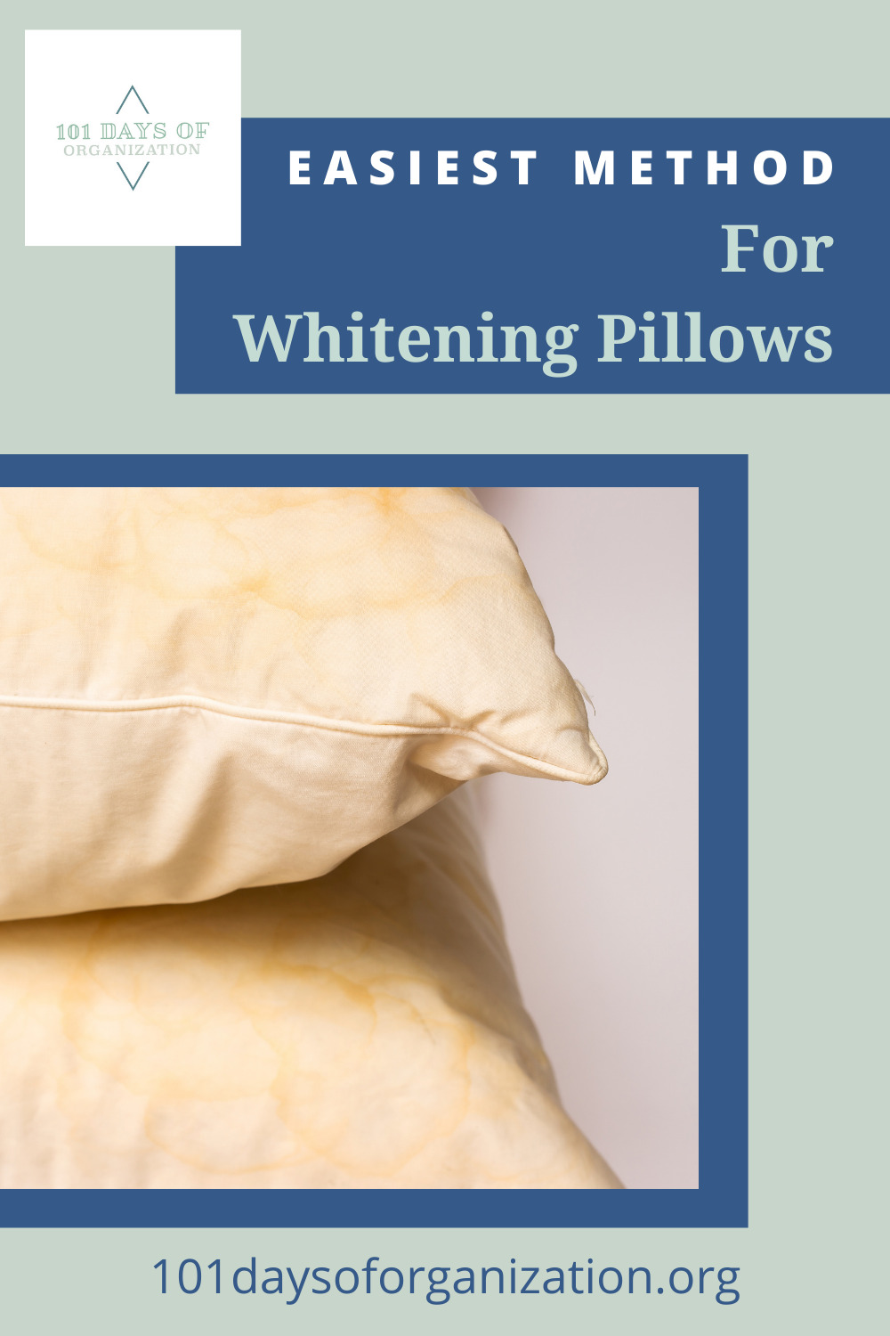 101daysoforganization.org has the best tips to keep your home perfectly clean. Find out how you can whiten your pillows after they've started to look a bit drab!
