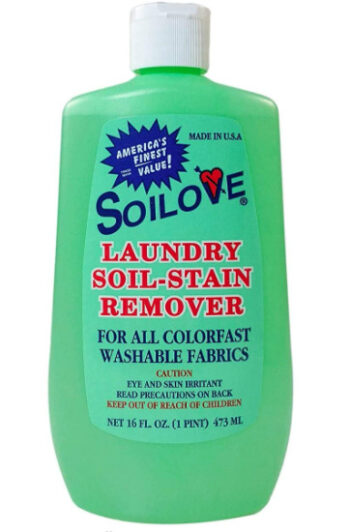 A mint green bottle of a stain remover