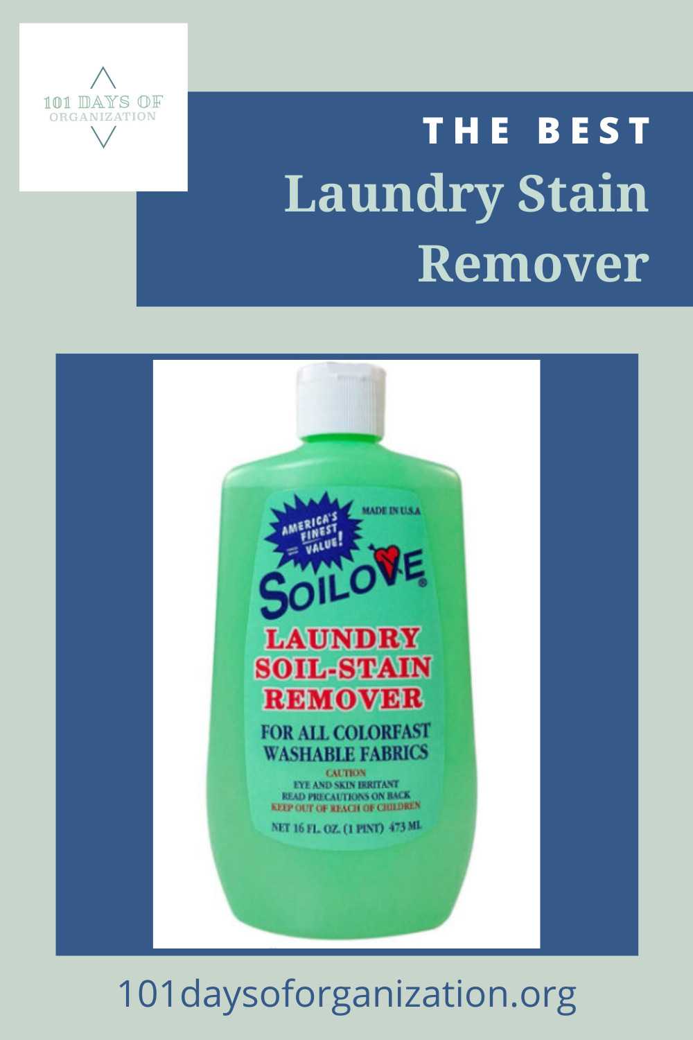 101daysoforganization.org is the ultimate resource for all things cleaning and organization. Don't sweat stubborn stains the next time you do laundry. Try out this incredible stain remover today!